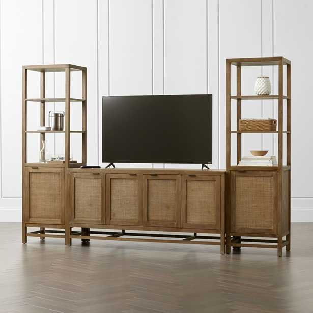 """Blake Grey Wash 68"""" Media Console with 2 Tall Cabinets - Crate and Barrel"""