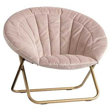 Dusty Blush Lustre Velvet Channel Stitch Hang-A-Round Chair - Pottery Barn Teen