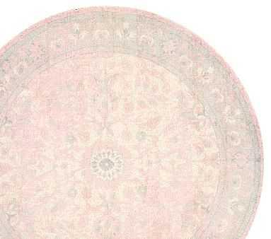 Monique Lhuillier Antique Round Rug, Round, Blush - Pottery Barn Kids