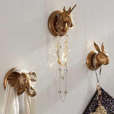 The Emily & Meritt Animal Wall Hooks - Unicorn - Pottery Barn Teen