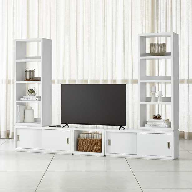 """Aspect White Modular Media Center with 23"""" Open Units - Crate and Barrel"""