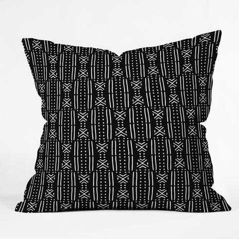 Holli Zollinger MUDCLOTH BLACK Throw Pillow - 18''x18'' with Insert - Wander Print Co.