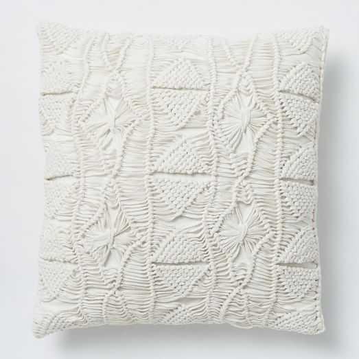 """Macrame Diamond Pillow Cover, 16""""X16"""", Stone White - West Elm"""