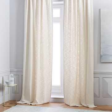 Cotton Textured Weave Curtain - Stone White - West Elm