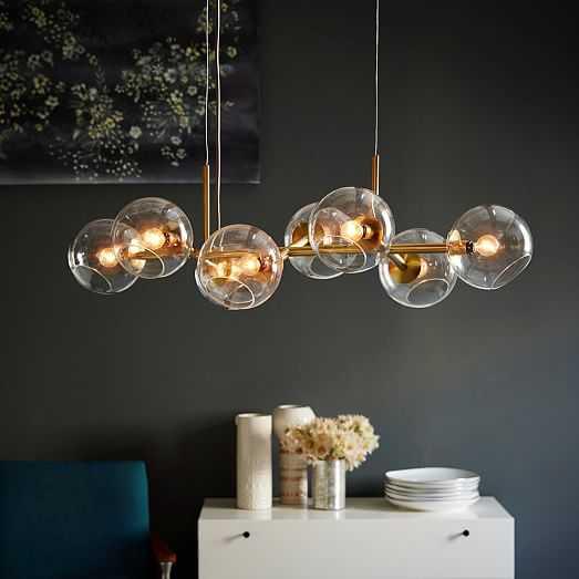 Staggered Glass Chandelier -8- Light, Antique Brass - West Elm