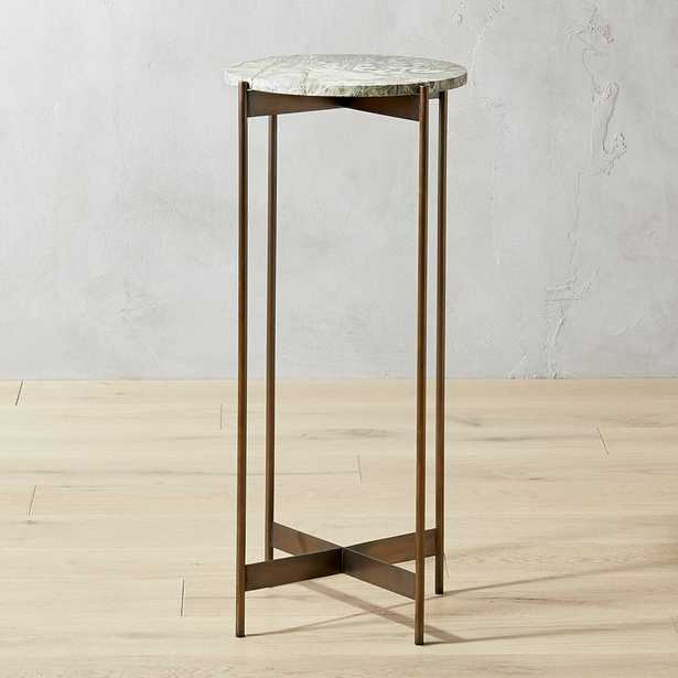 Tall Bronze and Marble Pedestal Table - CB2