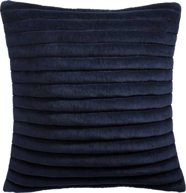 """18"""" Channeled Navy Velvet Pillow with Down-Alternative Insert - CB2"""
