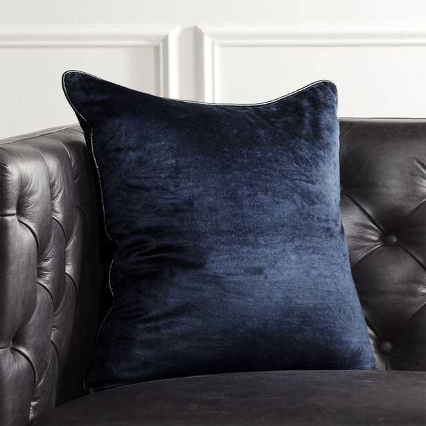 """18"""" Navy Crushed Velvet Pillow with Down-Alternative Insert - CB2"""