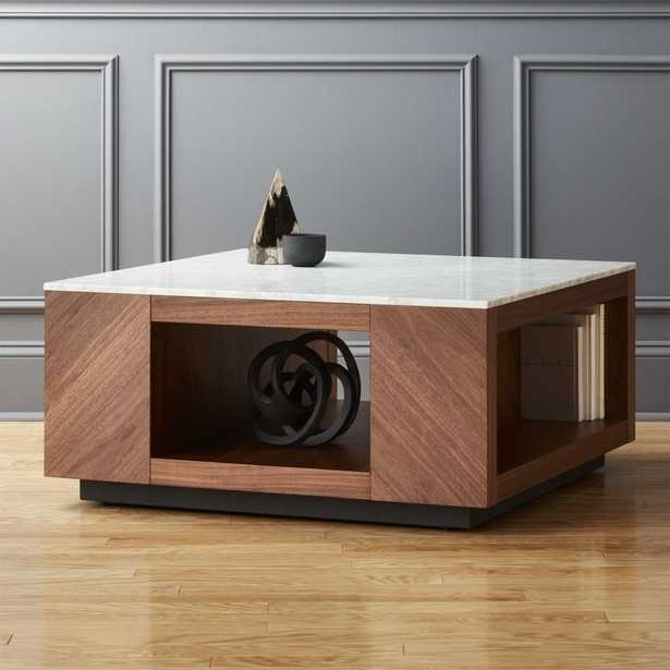 Suspend II Marble and Wood Coffee Table - CB2