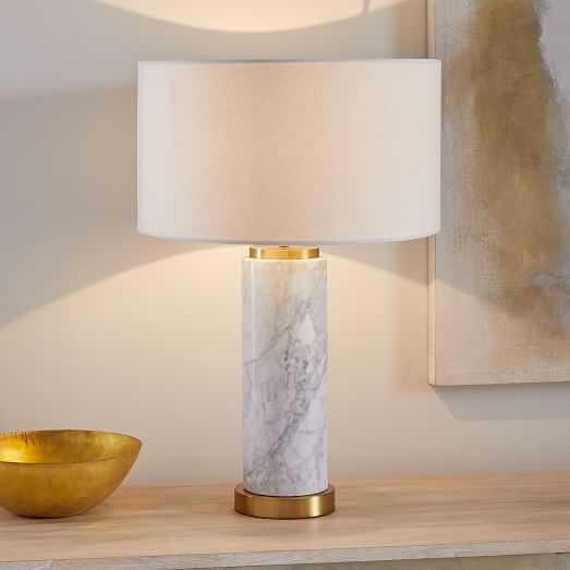 Pillar Table Lamp + USB - Marble - West Elm