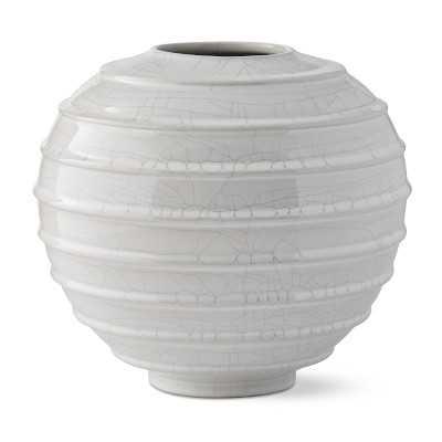 Horizontal Ridged Vase, Small, White Crackle - Williams Sonoma