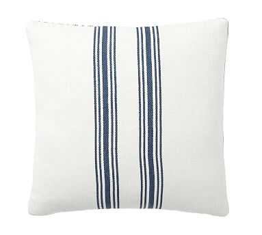 """Culver Grainsack Striped Reversible Pillow Cover, 20"""", Storm Blue - Pottery Barn"""