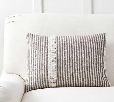 "Cozy Ticking Stripe Lumbar Pillow Cover, 14 x 20"", Charcoal - Pottery Barn"