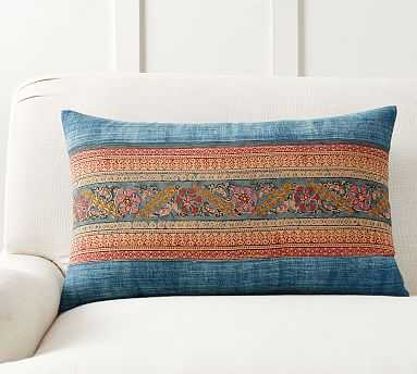 "Zazie Pieced Lumbar Pillow Cover, 16 x 26"", Multi - Pottery Barn"