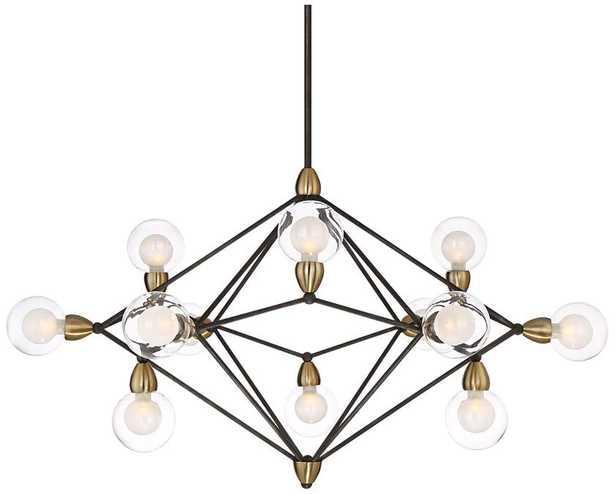 "Possini Euro Ares 40"" Wide Black and Brass 12-Light Pendant - Lamps Plus"
