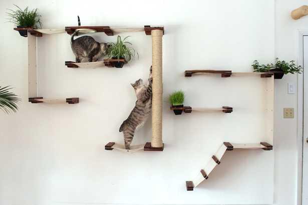 "63"" Multiple-level Hammock and Climbing Activity Center Wall-mounted 21 Piece Cat Tree Set - Wayfair"