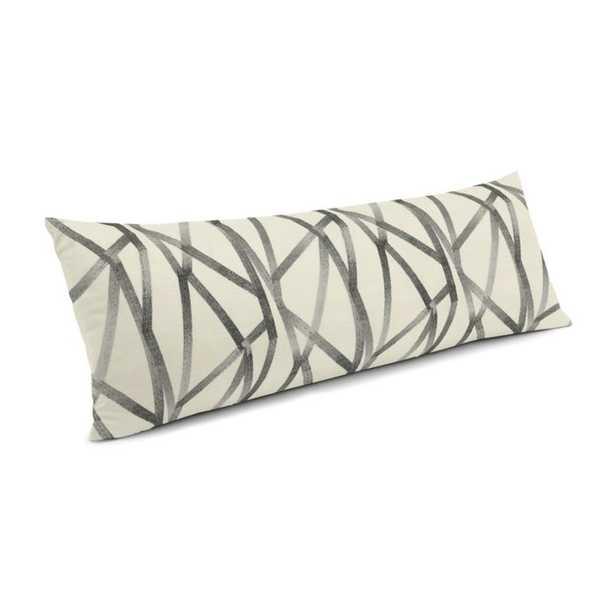 Black & White Abstract Stripes Large Lumbar Pillow - 14x36 - Down Insert - Loom Decor