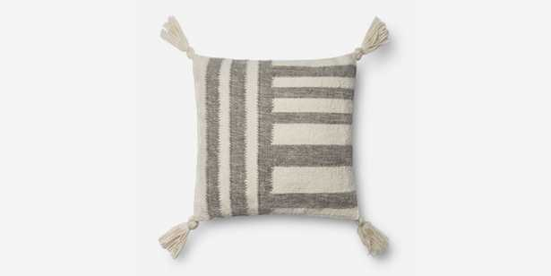 P1059 MH GREY / IVORY Pillow with Poly Insert - Loma Threads