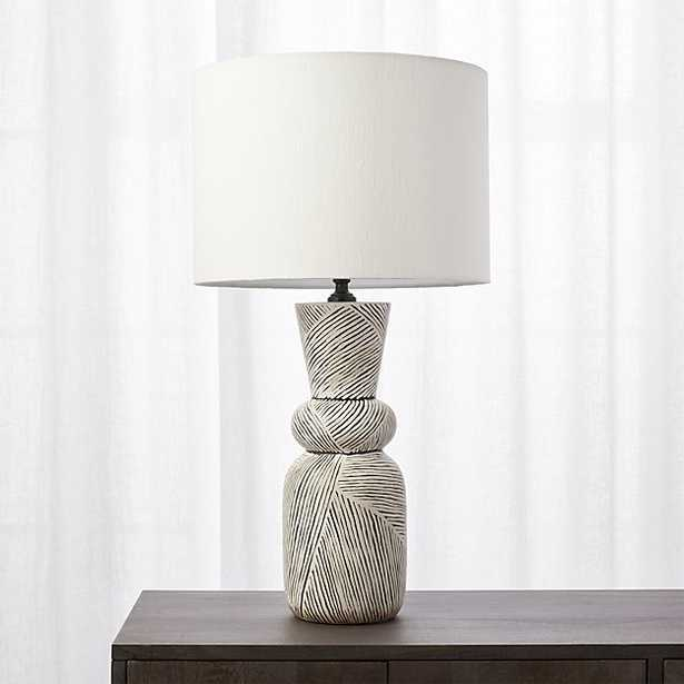 Ziggy Black and White Striped Table Lamp - CB2