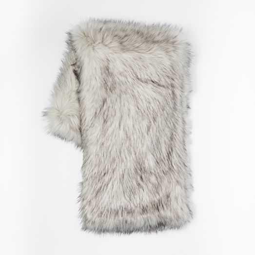 Faux Fur Throw  Brushed Tip / Platinum - West Elm