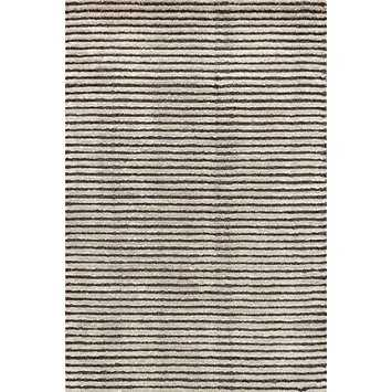 Cut Stripe Grey Hand Knotted Rug - 9x12 - Dash and Albert