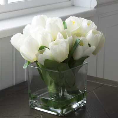Tulip Floral Arrangement in Glass Vase - AllModern