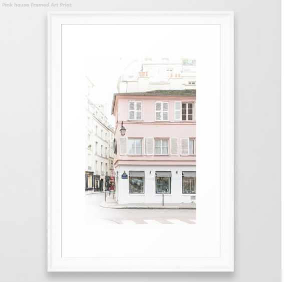 Pink house framed print, scoop white , 15 X 21 - Society6