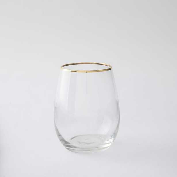 Stemless Glassware (Set Of 4) - Gold Rimmed - West Elm