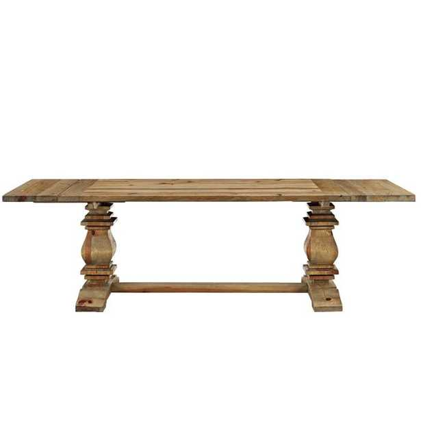 RISE EXTENDABLE WOOD DINING TABLE IN BROWN - Modway Furniture
