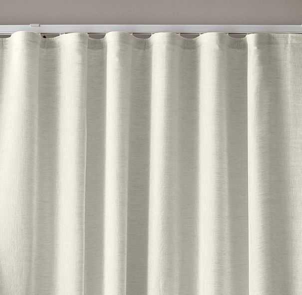CUSTOM BELGIAN SHEER LINEN RIPPLE-FOLD DRAPERY - WHITE (PAIR) - RH