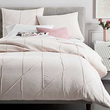 Organic Pleated Grid Duvet Cover, QUEEN, Pink Blush - West Elm