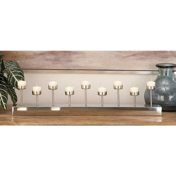 5 in. Silver Stainless Steel 9-Votive Candle Holder - Home Depot
