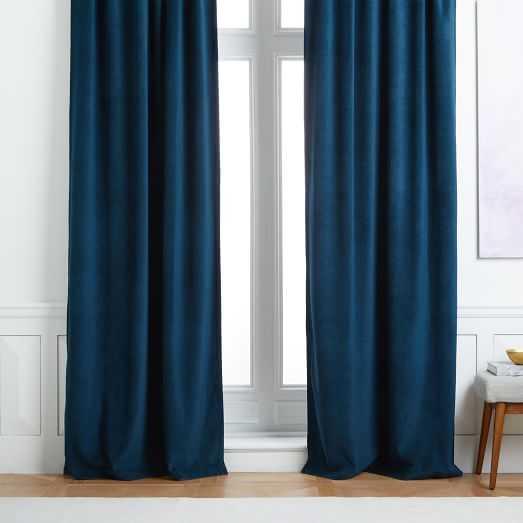 Worn Velvet Curtain - Regal Blue, Blackout Lined - 96'' - West Elm