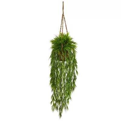 Artificial Mini Bamboo Hanging Plant in Basket - Wayfair