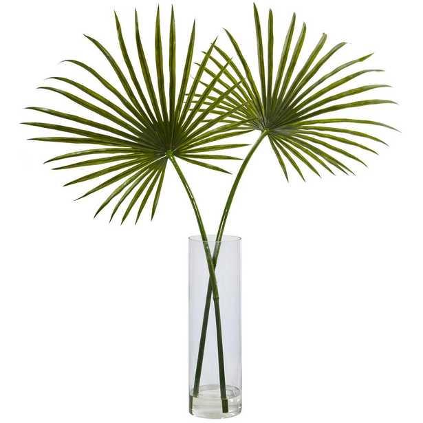 Indoor Fan Palm Artificial Arrangement in Glass Vase, Green - Home Depot