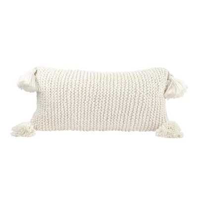 Crown Point Chunky Knit 100% Cotton Lumbar Pillow with Poms - Birch Lane
