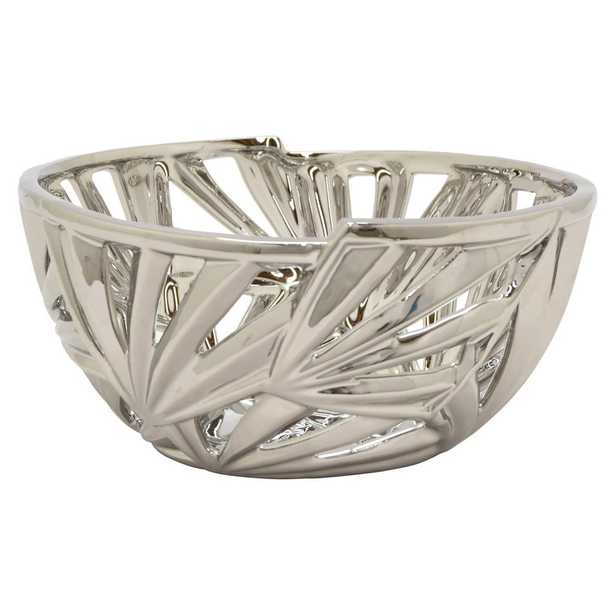 10.5 in. x 10.5 in. Silver Decorative Pierced Ceramic Bowl, Metallics - Home Depot