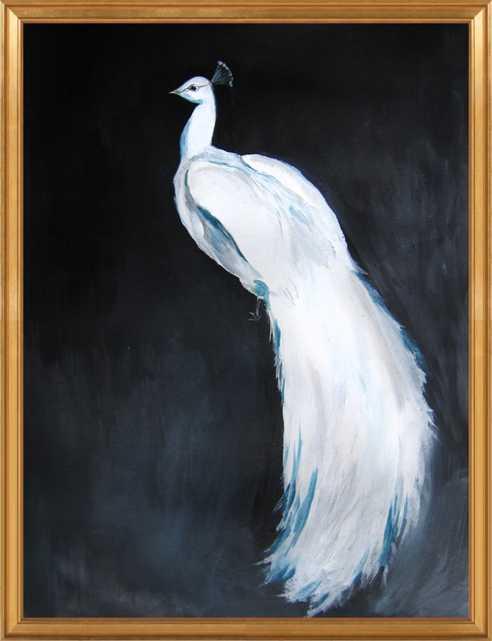 "White Peacock II - 28"" x 36"" Gold Leaf Frame, No Mat - Artfully Walls"