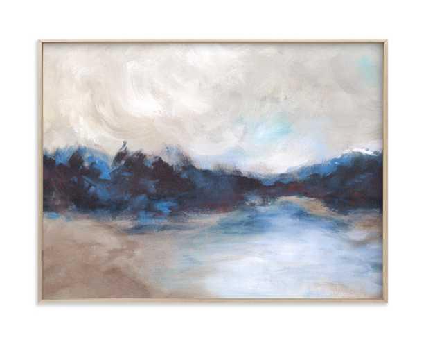 "Saint Mary's Lake - 18"" x 24"" - Matte Brass Frame - Minted"