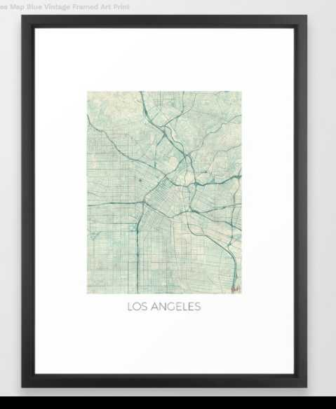 Los Angeles Map Blue Vintage by City Art Posters - Society6