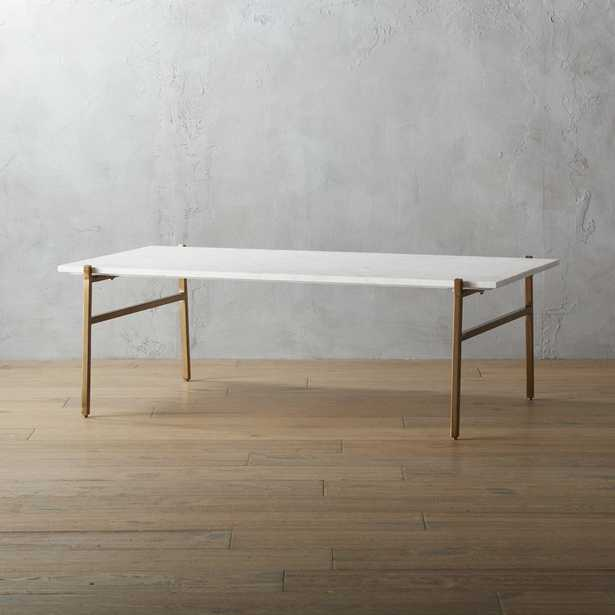 slab large marble coffee table with brass base - CB2