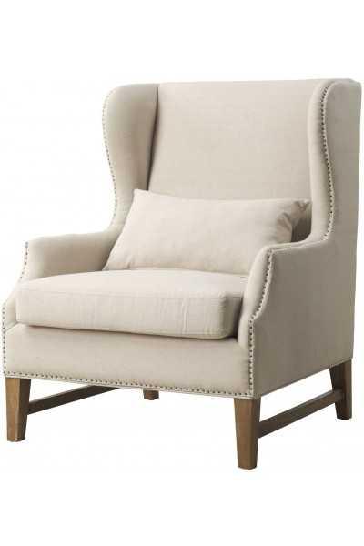 Daphne Beige Linen Wing Chair - Maren Home