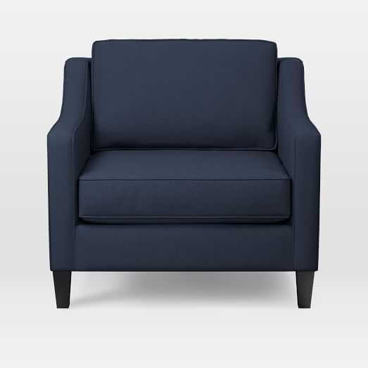 Paidge Armchair, Twill, Regal Blue, Taper Chocolate - West Elm