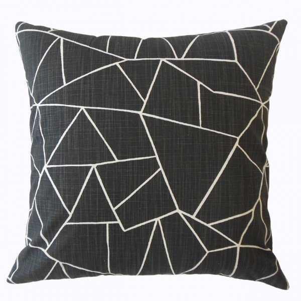 "Uheri Geometric Pillow Ink, 18"" x 18"" - Down insert included - Linen & Seam"