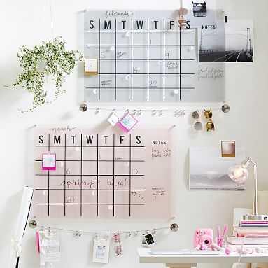 Acrylic Monthly Calendar, Gray - Pottery Barn Teen