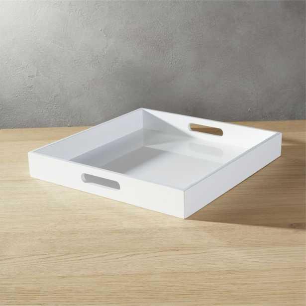 high-gloss square white tray - CB2