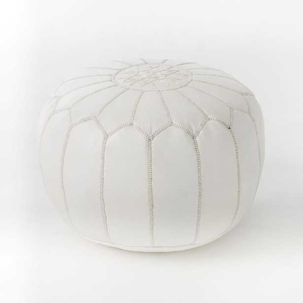 Leather Moroccan Pouf, White - West Elm