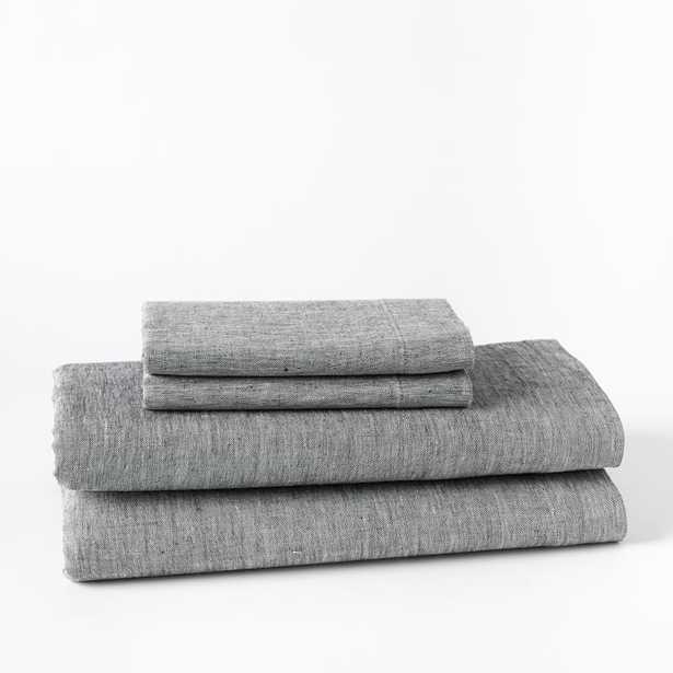 Belgian Flax Linen Melange Sheet Set: Gray, Queen - West Elm
