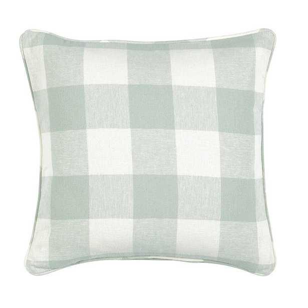 "Buffalo Check Pillow - Spa - 20"" - Down Insert - Ballard Designs"