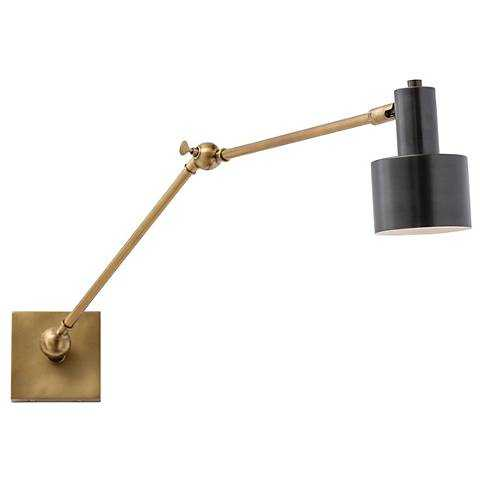 Arteriors Home Loki Antique Brass Wall Lamp with Black Shade - Lamps Plus